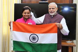 Prime Minister Modi had handed over the Tricolour to Arunima Sinha, marking the beginning of her expedition to Mount Vinson, Antarctica
