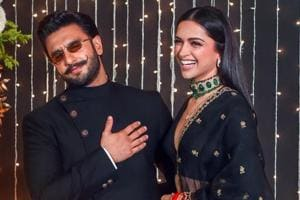 Deepika Padukone and and her husband Ranveer Singh at the wedding reception of Priyanka Chopra and Nick Jonas in Mumbai on  December 20, 2018.
