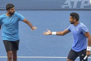 Pune: Tennis players Rohan Bopanna and Divij Sharan during a match against Simone Bolelli and Ivan Dodig at Tata Open Maharashtra.