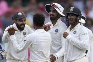 India vs Australia: Kohli, left, celebrates with India