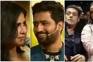 A clip of an interaction between Katrina Kaif, Vicky Kaushal and SalmanKhan has gone viral on internet.