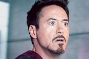 Robert Downey Jr as Iron Man in the Marvel Cinematic Universe.