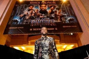 76th Golden Globes Awards: Cast member Chadwick Boseman poses at the premiere of Black Panther in Los Angeles. The film is considered a groundbreaking nominee at the 2019 Golden Globes.