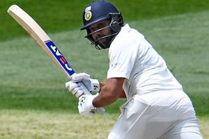 Rohit Sharma plays a shot during day two of the third Test match.