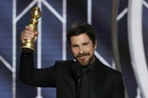 76th Golden Globe Awards: Christian Bale, Best Actor - Motion Picture, Musical or Comedy, Vice, accepts his award.