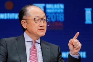 Jim Yong Kim, President of the World Bank Group, speaks at the Milken Institute 21st Global Conference in Beverly Hills, California, US, May 1, 2018.