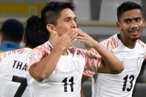 Sunil Chhetri (2nd-R) celebrates after scoring a goal during the AFC Asian Cup 2019.