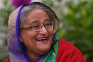 Bangladesh Prime Minister Sheikh Hasina takes part in a press conference in Dhaka.