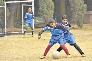 School girls in action during a football practice session, at N.P Bengali Girls Senior Secondary School, in New Delhi,  on Friday, January 4, 2019.