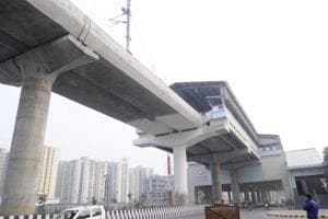 A view of the Noida-Greater Noida metro link. Developers hope the link will benefit the real estate sector, which has been witnessing a dip in sales.