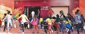 Students from the city that will be part of the opening ceremony at Balewadi stadium, get put through their final paces on Tuesday at the Shiv Chattrapati stadium in the city.