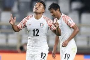 Jeje Lalpekhlua celebrates after scoring for India against Thailand in the AFCAsian Cup 2019.