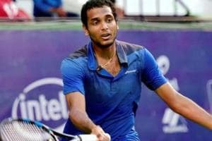Ramkumar Ramanathan of India plays against Jay Clarke of Great Britain during the Bengaluru Open.
