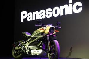 A Harley-Davidson Motorcycles LiveWire electric motorcycle is on display during a Panasonic news conference at CES International, Monday, Jan. 7, 2019, in Las Vegas.