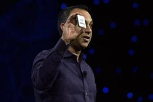 Intel Executive Vice President and General Manager Data Center Group Navin Shenoy displays a Cascade Lake chip during an Intel press event for CES 2019 at the Mandalay Bay Convention Center on January 7, 2019 in Las Vegas, Nevada