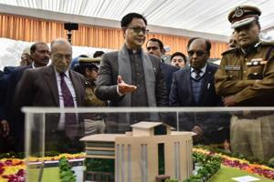 MoS Home Affairs Kiren Rijiju with Delhi L-G Anil Baijal and Delhi Police Commissioner Amulya Patnaik during the foundation stone laying ceremony for a new building of Delhi Police, in New Delhi, Monday, Jan 7, 2019.
