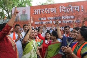 File photo of celebrations after the  Maharashtra Assembly unanimously passed a bill proposing 16 per cent reservation for Maratha community.