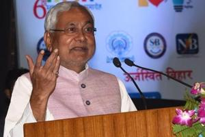 Patna-Nov.1,2018-Bihar Chief Minister Nitish Kumar and others are releasing coffee table book during foundation day of Bihar State Power Holding Company Limited at Bapu Sabhagar in Patna. Photo by – santosh Kumar