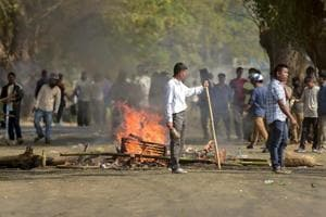 Roads being blocked on Tuesday in Agartala during the 48-hour-long nationwide general strike called by central trade unions.