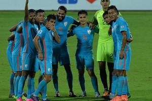 File image of players of Indian football team standing together.