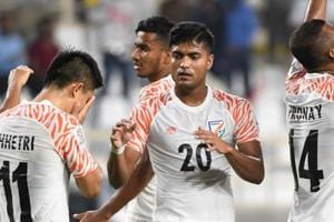 Sunil Chhetri celebrates with his teammates after India beat Thailand in opener.