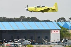 A Hindustan Turbo Trainer-40 (HTT-40) aircraft developed by Hindustan Aeronautics Limited (HAL) takes part in a test flight in the Indian city of Bangalore on June 17, 2016.