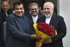 Union minister Nitin Gadkari welcomes Iranian Foreign Affairs Minister Mohammad Javad Zarif at his residence, in New Delhi, Tuesday, Jan. 8, 2019.