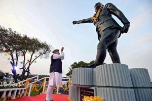 Prime Minister Narendra Modi pays tribute to Netaji Subhas Chandra Bose at Marina Park in Port Blair, Andaman and Nicobar Islands, Dec 30, 2018, to mark the 75th anniversary of the hoisting of tricolour on Indian soil by Netaji Subhas Chandra Bose.