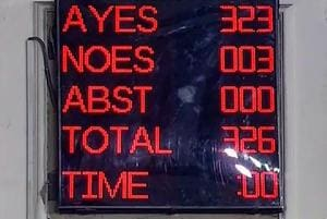 A screen displays the results of voting on the bill to provide 10 per cent reservation in jobs and educational institutions to economically backward section in the general category, in Lok Sabha, New Delhi, Jan 8