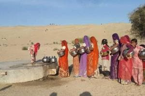 Women in Barmer villages walk between three and five kilometres every day in all seasons to fetch drinking water for their families.