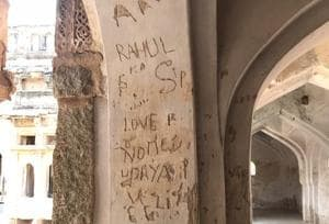 Graffiti on the walls of the Octagonal Royal Ladies' bath at Hampi