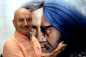 Anupam Kher poses for a picture during a promotional event for the upcoming Hindi film The Accidental Prime Minister.