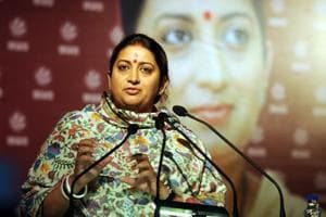 Textile minister Smriti Z Irani addressing the Women Science Congress, January 5. Ms Irani used data to put the spotlight on the deeply entrenched gender bias in research and the workspace that pushed women into a minority status