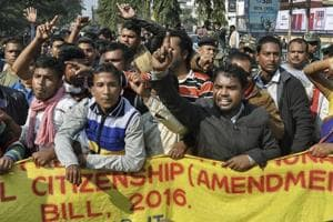 Activists of various indigenous organisations stage a protest rally in front of the Assam Secretariat against the Citizenship (Amendment) Bill, 2016, Guwahati, January 9, 2019