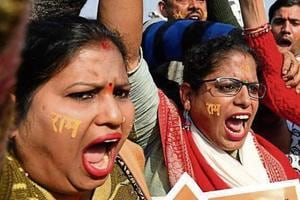Protesters shout slogans outside the Supreme Court in New Delhi on Thursday after the hearing in the Ayodhya temple dispute case was further deferred to January 29.