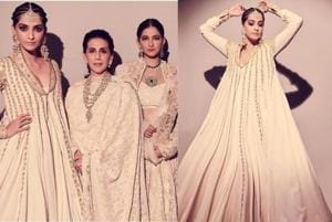 Sonam Kapoor strikes a pose with mother Sunita and sister Rhea.