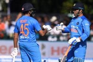 File picture of MS Dhoni, Rohit Sharma