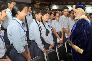 Students of government schools interacting with Prime Minister Narendra Modi