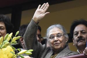 Former Delhi chief minister Sheila Dikshit waves to crowd after being appointed as Delhi Pradesh Congress Committee president ,  Thursday, January 10, 2019.