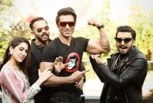 SonuSood with his Simmba co-stars Ranveer Singh and Sara Ali Khan and director Rohit Shetty.