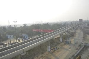 A view of Arthla metro line in Ghaziabad. The GDA officials on Friday said that the Public Investment Board has approved the 9.41km metro project in Ghaziabad.