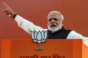 Prime Minister Narendra Modi gives speech at BJP National Executive Meet, at Ramlila Maidan in New Delhi on Saturday.