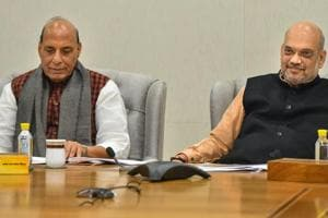 BJP President Amit Shah with home minister Rajnath Singh during meeting of party