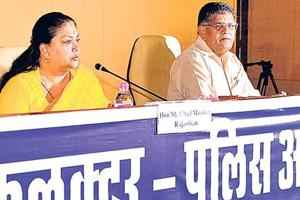 Gulab Chand Kataria (right), the home minister of Rajasthan in the former Vasundhara Raje government, was on Sunday elected leader of opposition in the assembly (File photo)
