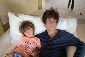 Shah Rukh Khan and his son AbRam pose for a picture on a Sunday.