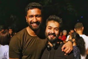 A picture of director Aditya Dhar with Vicky Kaushal on the sets of Uri.