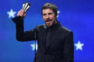 Christian Bale accepts the award for Best Actor for his work in Vice.
