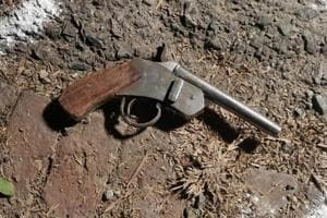 A gun at an encounter site in Noida in UttarPradesh.