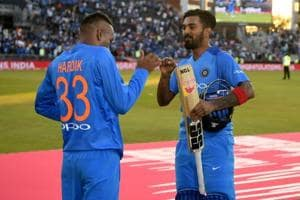 Lokesh Rahul of India celebrates with Hardik Pandya after winning the 1st Vitality International T20 match between England and India at Emirates Old Trafford on July 3, 2018 in Manchester, England.