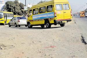 The road in a poor state near the Podar international School on the Katraj -Dehuroad bypass is causing inconvenience to students.